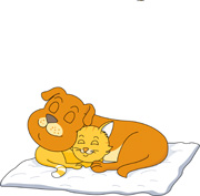 cat and dog sleeping together clipart