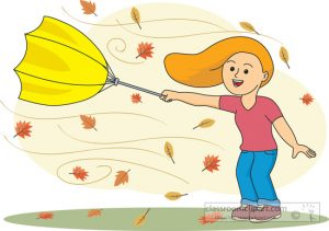 girl holding an umbrella in windy weather clipart